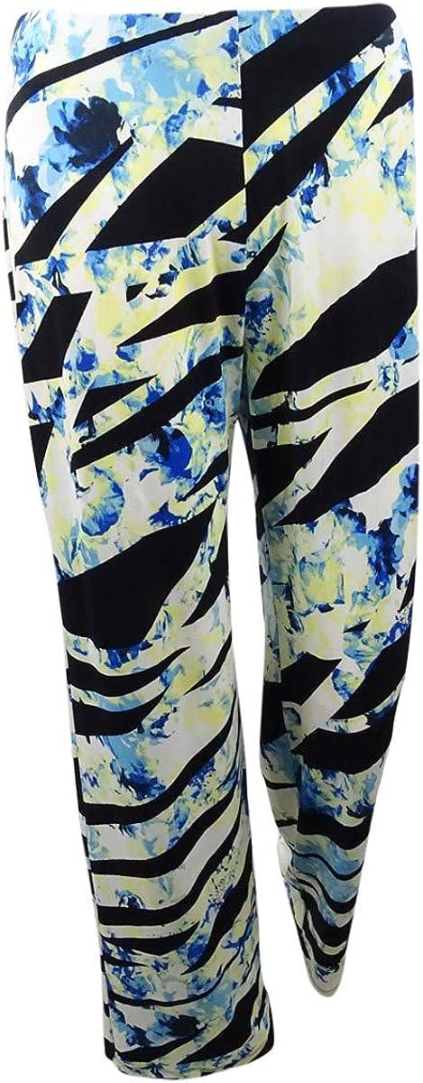 Alfani Womens Printed Mid-Rise Wide Leg Pants