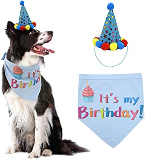 PUPTECK Dog Birthday Bandana Scarfs with Cute Doggie Birthday Party Hat