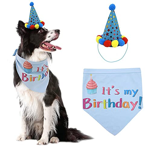 PUPTECK Dog Birthday Bandana Scarfs With Cute Doggie Party Hat
