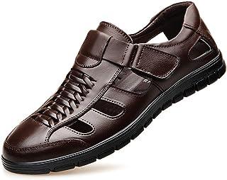 Formele zomerschoenen voor heren, Ouderen casual leren sandalen met gesloten neus, Ademende formele zakelijke sandalen voo...