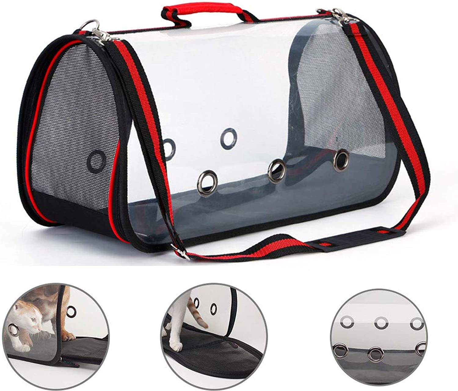 Pet Backpack Portable Transparent Pet Bag Oxford Cloth Comfortable Breathable Belt Designed for Travel Hiking and Outdoor Use