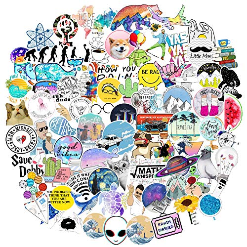 103Pcs Girl Cute Laptop Stickers, Trendy Computer Vinyl Sticker Waterproof Water Bottles Notebook Car Guitar Skateboard Luggage Decal Graffiti Patches Deca for Teen and Kids