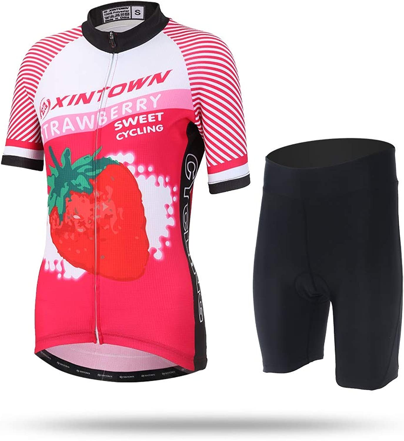 Cycling Jersey Women Summer Bike Short Sleeves Shirts Clothing Women's Sleeve Jacket Quick Dry Breathable Mountain Top Pro Quality MTB Wear Maillot Ropa Ciclismo Racing Clothes Strawberry Printing