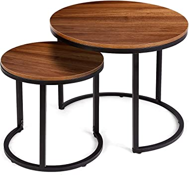 amzdeal Coffee Table for Living Room, Set of 2 Nesting Side Coffee Tables, Stable and Easy Assembly, Chipboard Table Top with Metal Frame - Large : Φ 23.6×19.7 inch, Small : Φ 15.7×16.3 inch