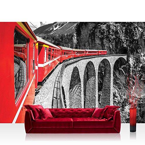 Fototapete 368x254 cm PREMIUM Wand Foto Tapete Wand Bild Papiertapete - Gebirge Tapete Landschaft Eisenbahn Zug rot - no. 1811