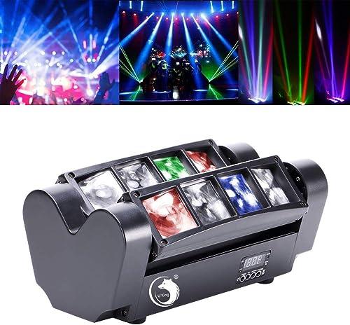 Yimosi 60W Lyre 8 Leds,Disco Lumière d'araignée DMX512 RGBW4 en 1 Lampe de Scène Commande Vocale Éclairage DJ Soirée ...