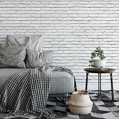 *K&L Wall-Art – Fototapete – Vliestapete – Tapete – Weißer Backstein – 3D Tapete – Steinoptik – Gesamtgröße: 336 cm Breite x 260 cm Höhe*