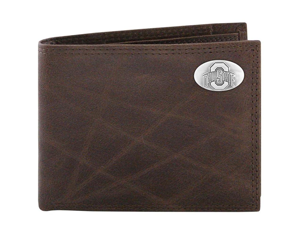 に付けるエッセンス大気NCAA Ohio State Buckeyes Brown Wrinkle Leather Bifold Concho Wallet, One Size