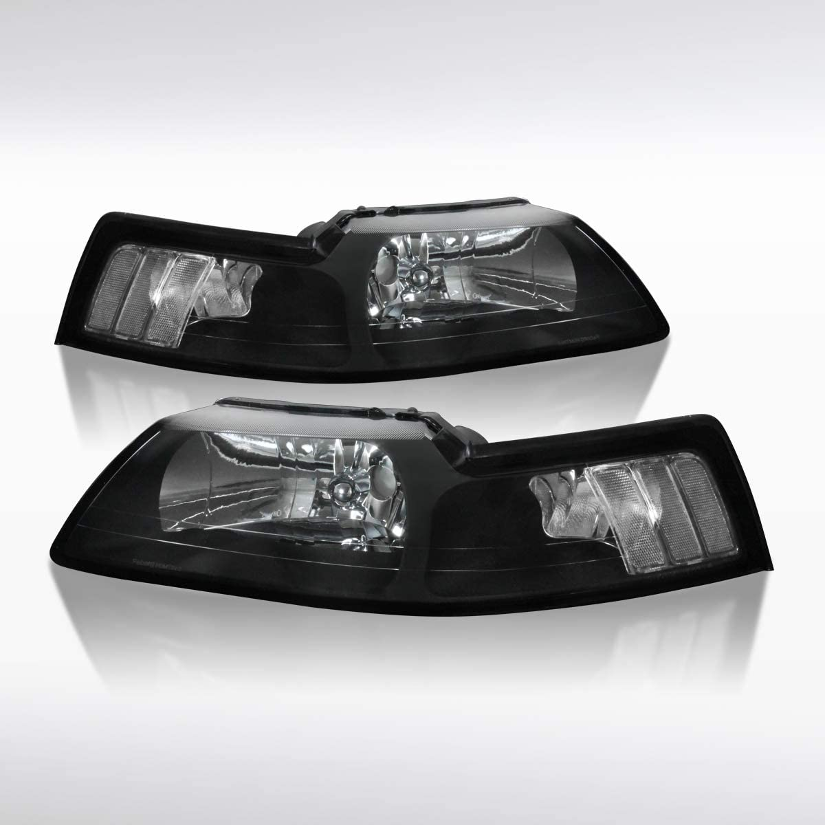 Autozensation for In stock 1999-2004 Ford Mustang Headlights Black Lamps Max 75% OFF