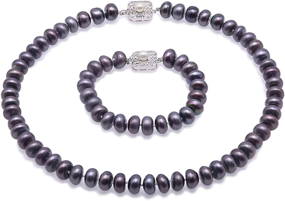 JYX Pearl Necklace Set 11mm Black Freshwater Cultured Pearl Necklace Bracelet Jewelry Set