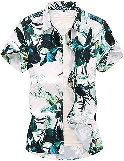 Men Hawaiian Shirts - Casual Summer Printed Button Up Turndown Short Sleeve Slim Fit Shirt Top Multi-Code Multicolor