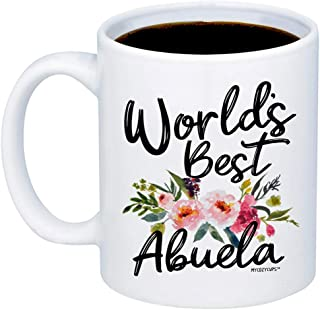 MyCozyCups Gifts - WORLDS BEST ABUELA Coffee Mug - Funny Unique Gift Idea 11oz Cup For Your Best Effin Auntie From a Niece or Nephew - Birthday, Christmas, Mother's Day Gift For Her