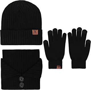 Men's Winter Beanie Hat & Button Scarf & Touchscreen Gloves 3 Pieces Warm Knitted Set for Men