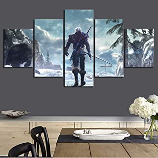Artwap 5 Piece Painting The Picture for Home Decoration Artwork for Wall Decor The Witcher 3 Wild Hunt Game Poster (Size4)
