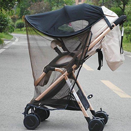 Paragüero 2 en 1 para cochecito de bebé, con visera anti rayos UV, con mosquitera y cortina, resistente al agua y al viento, ajuste universal para cochecito