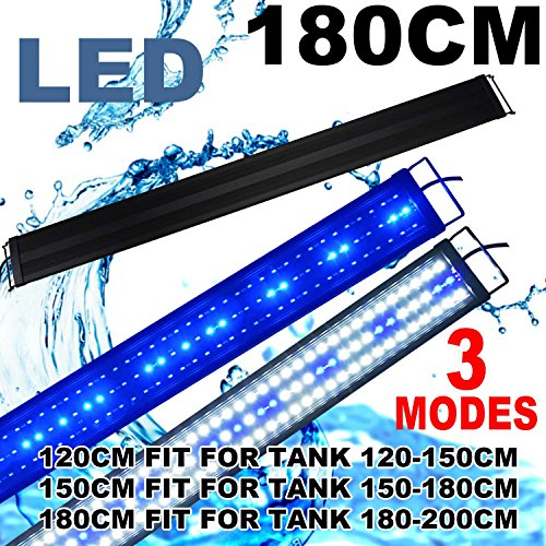 KZKR LED Aquarium Hood Lighting 72-78 inch Fish Tank Light Lamp for Freshwater Marine Saltwater Blue and White Decorations Light 6-7ft (34W) 180cm - 200cm