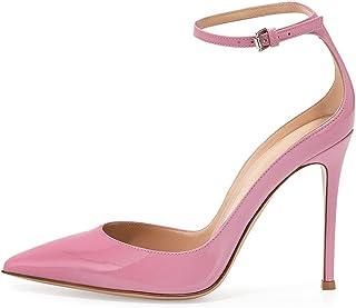 Soireelady Scarpe da Donna,Scarpe col Tacco Punta Chiusa Donna,Scarpe con Cinturino alla Caviglia