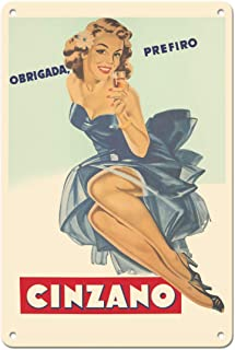 Pacifica Island Art Thank You, I Prefer (Obrigada Prefiro) Cinzano Wines - Vintage Advertising Poster c.1951-8in x 12in Vintage Tin Sign