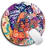SHrui Gaming Office Mouse pad,Anti-Slip Natural Rubber Mouse pad, Round Personalized Custom Mouse pad for Desktop, Computer, Laptop -African Queen