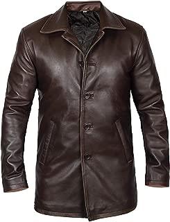 Mens Kriegsmarine German WW2 Naval Reefer Hide Real Leather Jacket Pea Coat