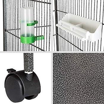 TecTake Volière pour Oiseaux, Cage sur roulettes pour Canaries Perroquet Perruches (sans Toit II | No. 402287)