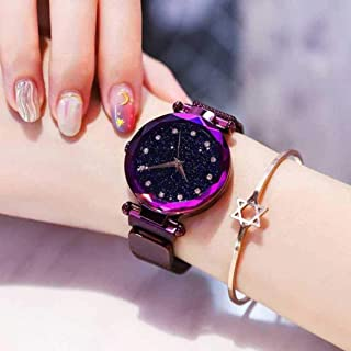Acnos Black Round Diamond Dial with Latest Generation Purple Magnet Belt Analogue Watch for Women Pack of - 1 (DM-PURPLE02)