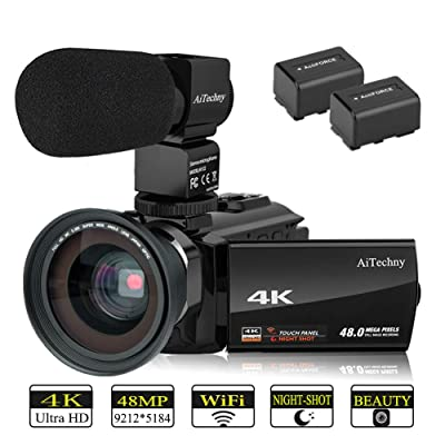 AiTechny 4K Camcorder Video Camera (with Microp...