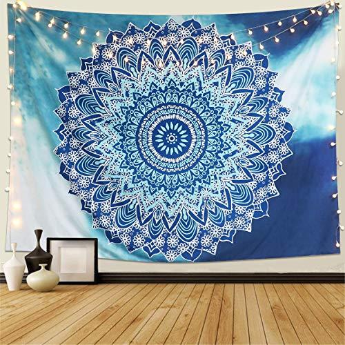 Dremisland Wandteppich Indisch Mandala Hippie Bohemien Orientalisch Wandtuch Tapisserie wandbehang Hellblaue Blume Tapestry Psychedelic Boho Stil als Dekotuch Tagesdecke (L / 148x200cm)