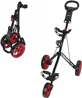 Caddymatic Golf Pro Lite 3 Wheel Golf Cart Black / Red