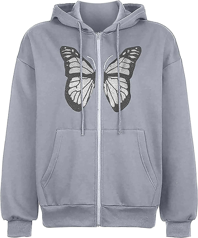 Women's Zip Up Hoodies Casual Loose Pocket Sweatshirt Street Sport Zip Cardigan Jacket Coat