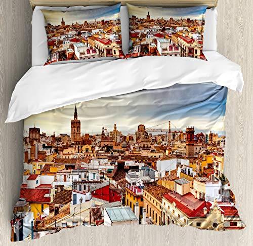 ABAKUHAUS Stad Oude Huizen Dekbedovertrekset, Valencia Spanje View, Decoratieve 3-delige Bedset met 2 Sierslopen, 200 cm x 200 cm, Veelkleurig
