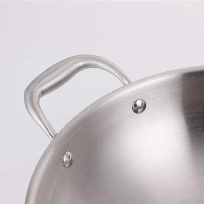 DXDUI Poêlon avec Couvercle en Acier Inoxydable Wok Composite Pot en Acier No Huile Fumée Aucun Revêtement Antiadhésif Pan Parfait Santé À Sec Frying Acier Inoxydable