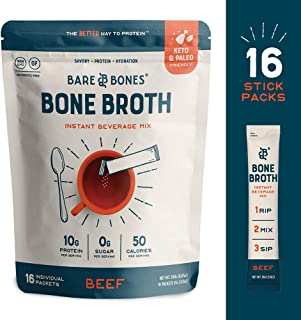 Bare Bones Bone Broth Instant Powdered Beverage Mix, Beef, 10g Protein, Keto & Paleo Friendly, 15g Sticks, Pack of 16 Serv...