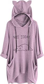 Women Long T Shirt Dress,Ladies Casual Lying Cat Printed Long Sleeve Cat Ear Hooded Sweatshirt Pocket Tops