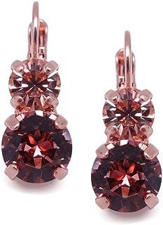 Mariana Brown Meadow Swarovski Crystal Rose Goldtone Earrings Light Purple with Light Peach 1119