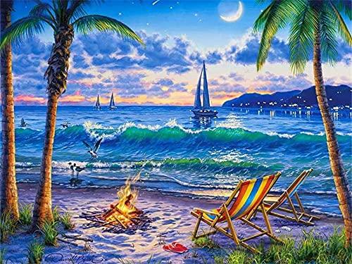 Dipingi con i numeri Immagini di paesaggi Disegno a olio con i numeri Decorazione della casa della nave Set completo da colorare con i numeri W3 60x75 cm