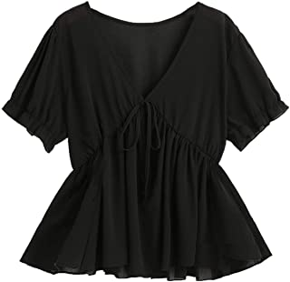 SheIn Women's Plus Size V Neck Tie Front Blouse Short Sleeve Peplum Tee Top