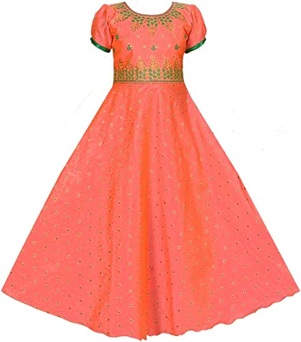 Beautiful Maxi Full Length Dress With Unique Computer Embroidery Design For Girls