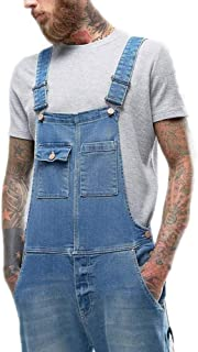 huateng Mens Casual Solid Color Slim Fit Denim Overalls Fashion Patch Pocket Sling Jumpsuits