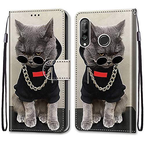 Nadoli Handyhülle Leder für Huawei P30 Lite,Bunt Bemalt Cool Gold Kette Katze Trageschlaufe Kartenfach Magnet Ständer Schutzhülle Brieftasche Ledertasche Tasche Etui