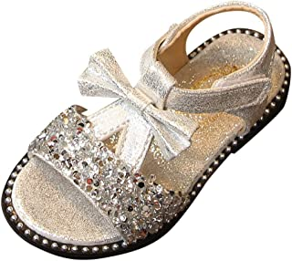 Toddler Kids Baby Girls Sandals NEEKEY Bowknot Bling Sequins Single Princess Shoes Summer Closed Toe Children Shoes