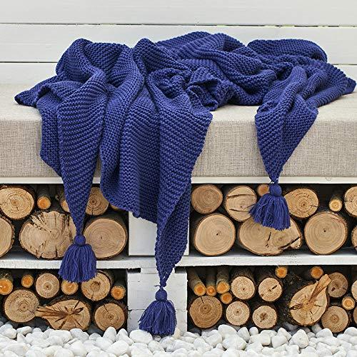Blue and White Reflections Ins einfache Moderne Reine Farbenstricksofadecke-Hotelbettdecke-Beispielbettendstück-Deckentuch, 130 * 160cm, Bekam-Sapphire