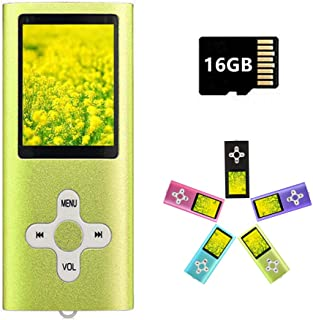 MP3 Player MP4 Player with a 16GB Micro SD Card, Runying Portable Music Player Support up to 64GB, Mini USB Port 1.8 LCD, ...
