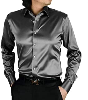 Lutratocro Mens Button-Down Silk Casual Slim Short Sleeve Wrinkle Free Shirts