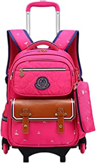 Boys Girls Rolling School Backpacks - Kids Trolley Schoolbag Waterproof Primary Children Bag Removable Outdoor Travelling Nylon Kids Luggage