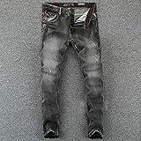 Vintage Designer Men Jeans Black Grey Color Slim Fit Ripped Jeans Homme 100% Pantalones de Mezclilla de algodón Marca Biker Jeans Hombres 31 Darkgrey