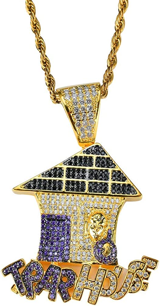 Moca Jewelry Iced Out Trap House Pendant 18K Gold Plated Bling CZ Simulated Diamond Hip Hop Necklace for Men Women