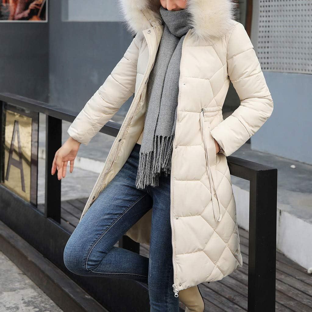 OIKAY warme Mantel Damen warme dünne Mantel Mantel Mode Winter Damen Jacke Lange dick Ye Weiß