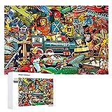 DKISEE Rompecabezas de madera de 1000 piezas, rompecabezas Toyland, juego educativo de descompresión intelectual, divertido para adultos y niños | DIY coleccionables modernos para decoración del hogar