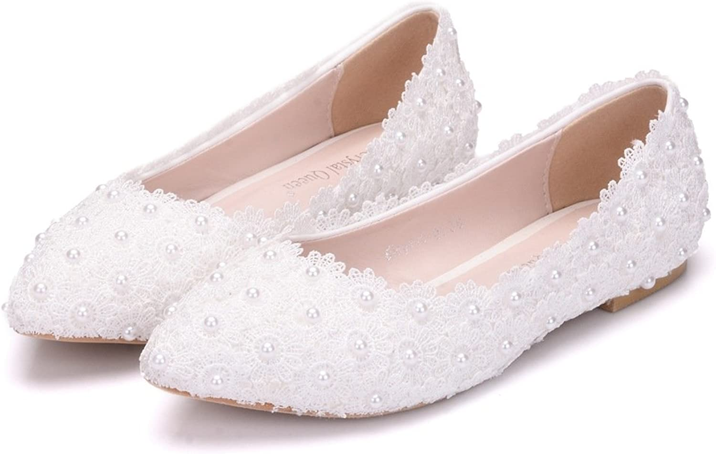 AGoGo Women's Peep Toe Wedge Heel Lace and Satin Bridal Wedding shoes